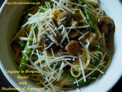 Linguine in Browned Butter with Mushrooms & Asparagus