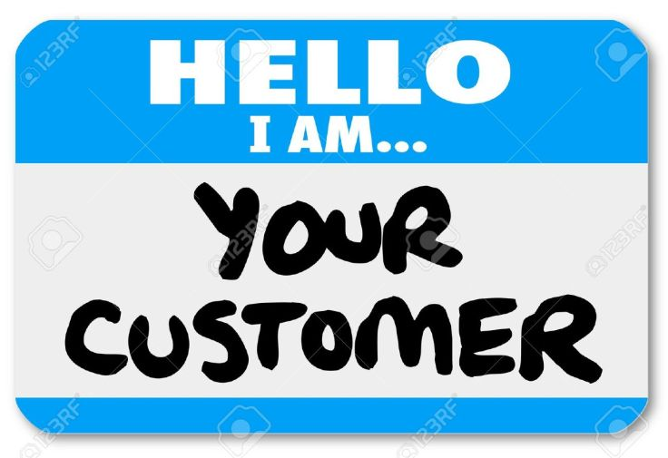 19109723-A-blue-nametag-sticker-with-words-Hello-I-Am-Your-Customer-to-represent-networking-customer-service--Stock-Photo