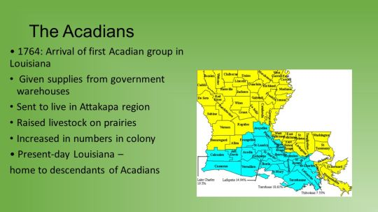 The+Acadians+•+1764-+Arrival+of+first+Acadian+group+in+Louisiana