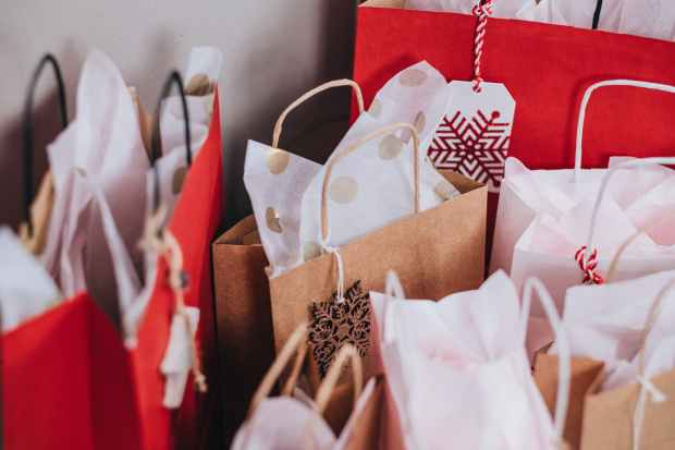 paper bags near wall