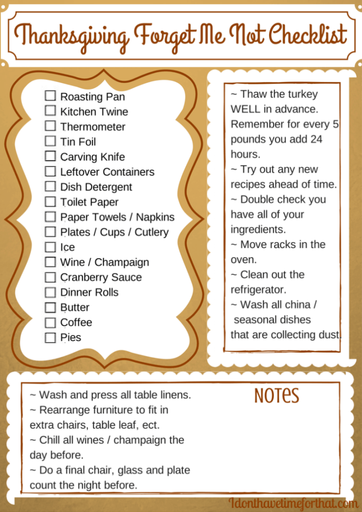Thanksgiving cooking  planner
