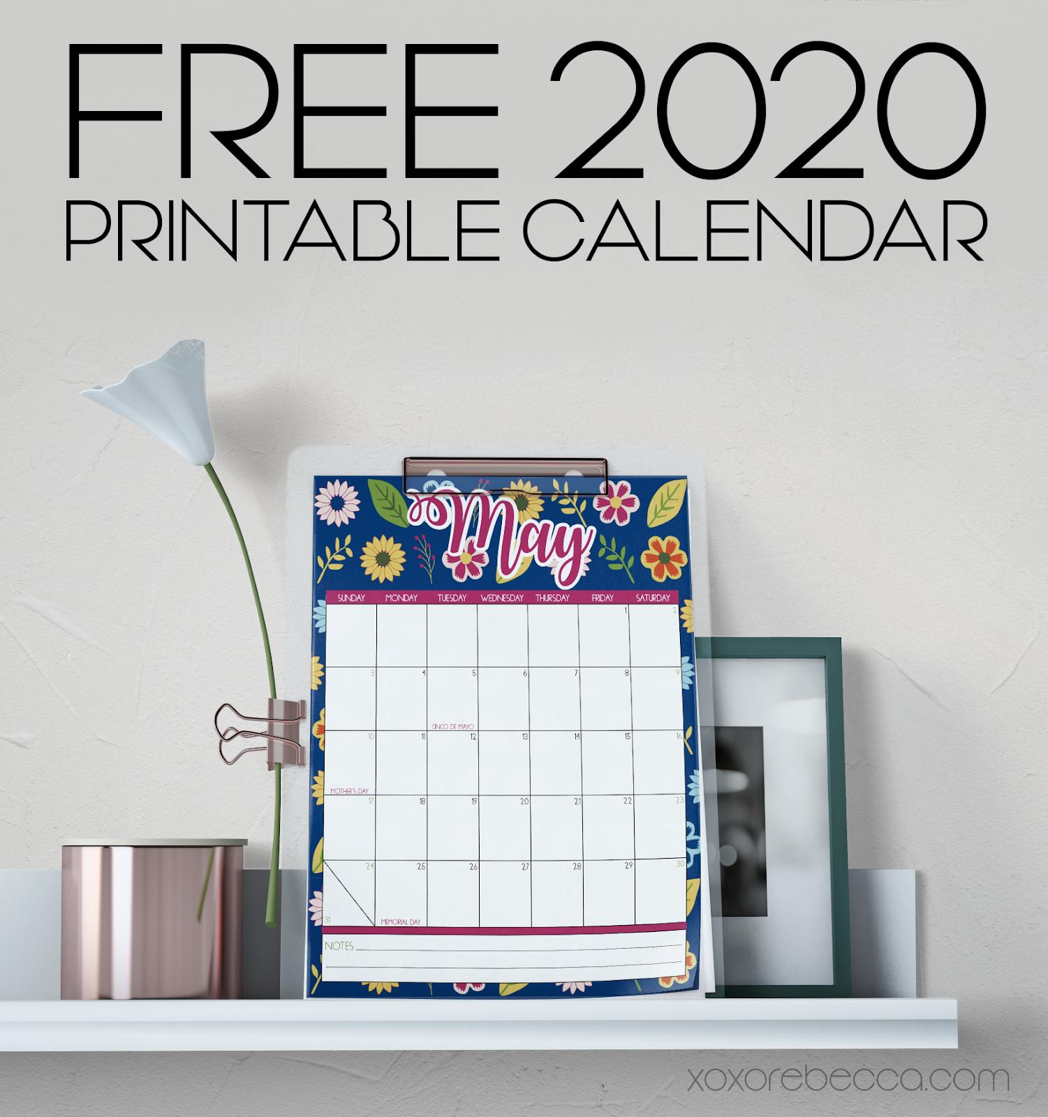 Free Printable 2020 Calendar from xoxo Rebecca